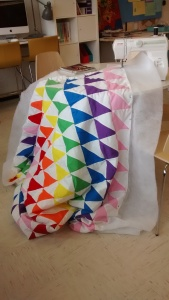 My quilt in the sewing machine in our Makerspace